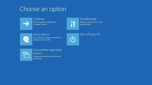 Windows 8 Boot Options Menu