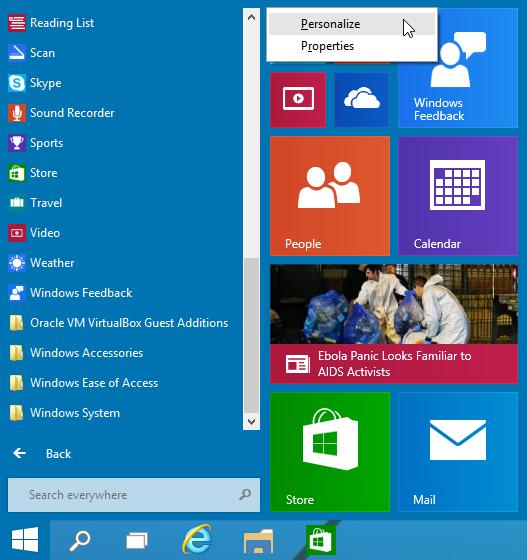 Personalize Start Menu Windows 10