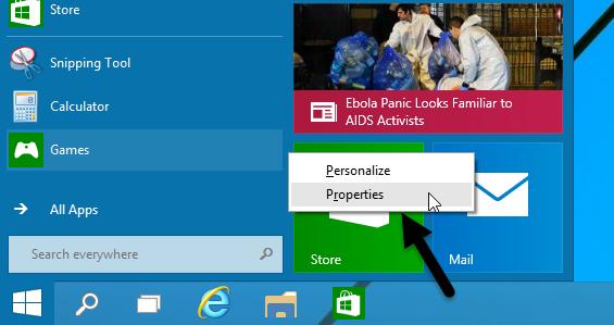 Properties Windows 10 Start Menu