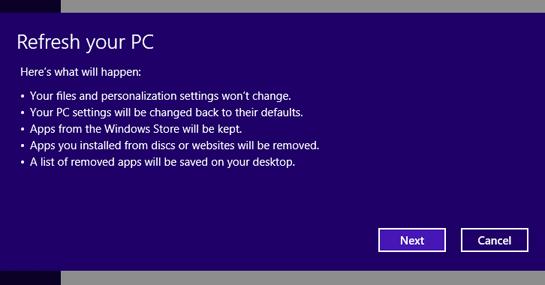Refresh PC Windows 8