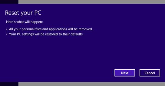 Reset PC Windows 8