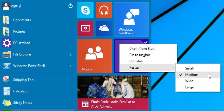 Resize Start Menu Windows 10