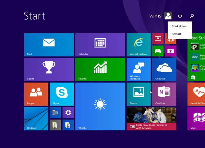 Start Menu Windows 8 Windows 10