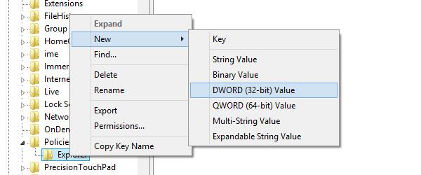 Menambahkan DWORD dalam folder Explorer