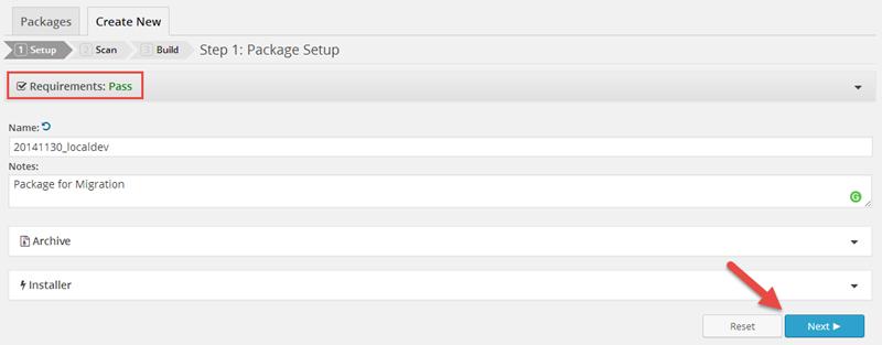 Package Setup di Duplicator