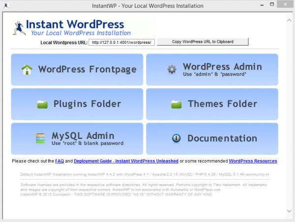 Menggunakan Instant WordPress