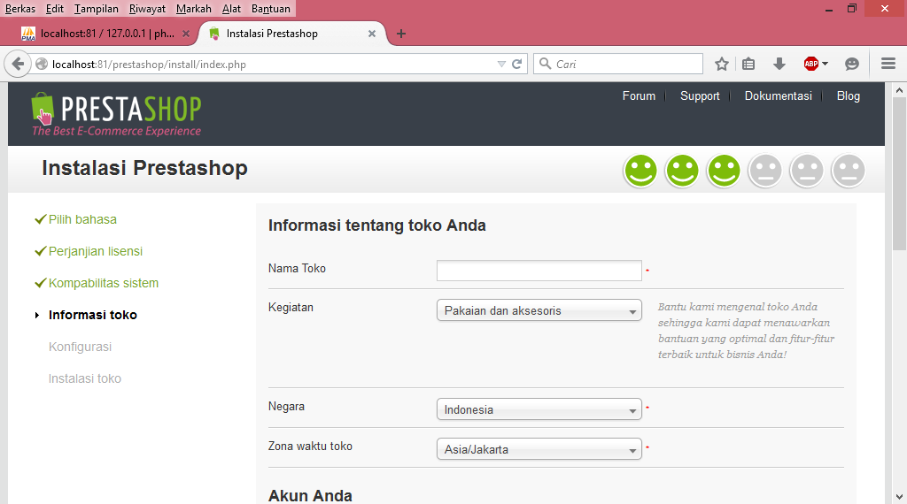 Pengisian Data Install PrestaShop