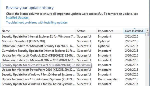 Melihat Riwayat Update Windows (View Update Windows History)