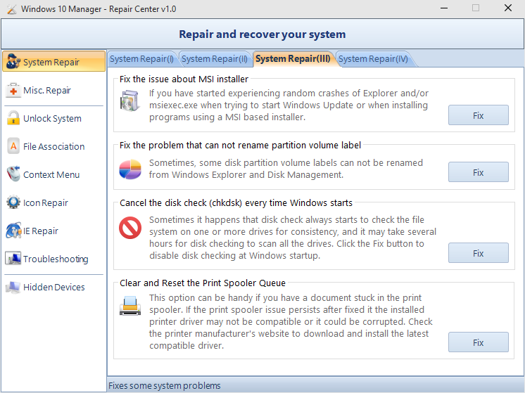 Windows 10 Manager (System Repair)