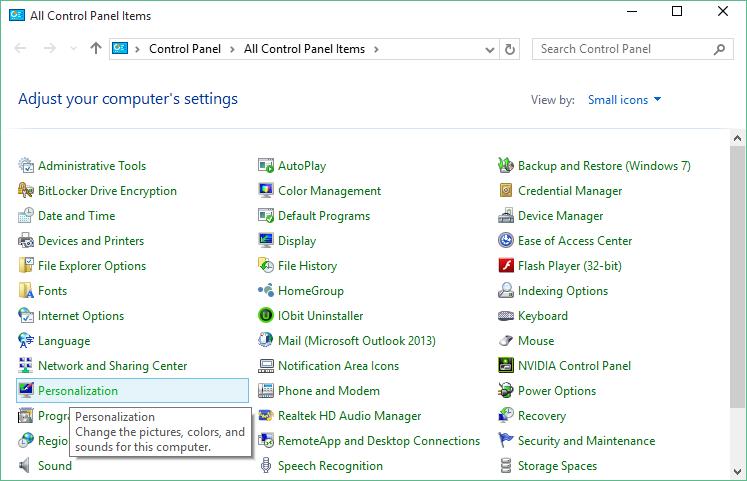 saat Anda mengklik kanan desktop Anda dan mengklik Personalize Cara Membuka Jendela Personalization Klasik Pada Windows 10