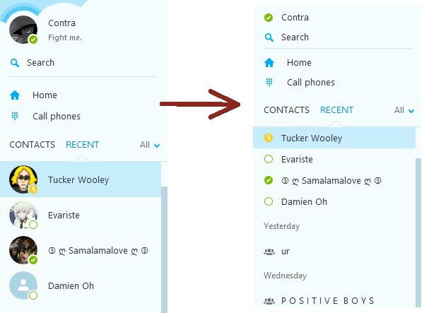 Tampilan Daftar Kontak Pada Skype