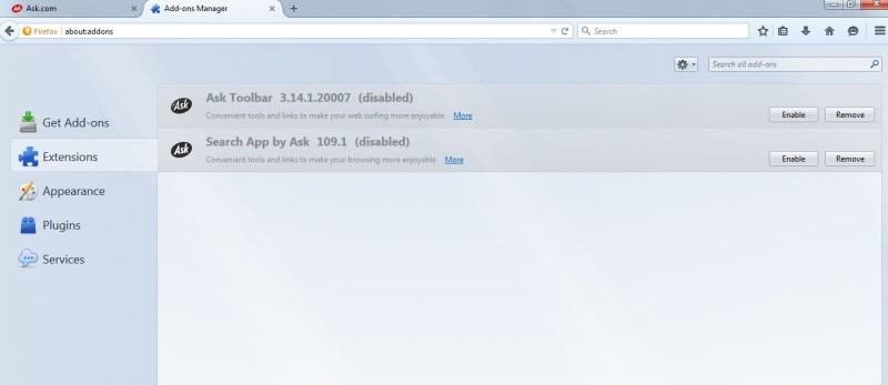 Menghapus Ekstensi Toolbar Ask Pada Browser Mozilla Firefox