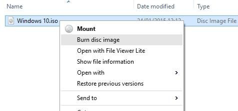 Burn Disc Image Windows 10