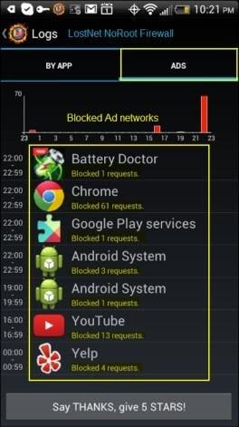Fitur Pemblokiran Jaringan Iklan Dalam Aplikasi LostNet NoRoot Firewall
