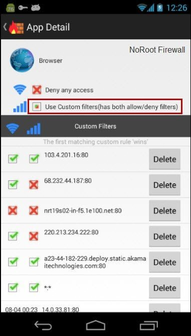 Informasi Detail dalam Aplikasi NoRoot Firewall