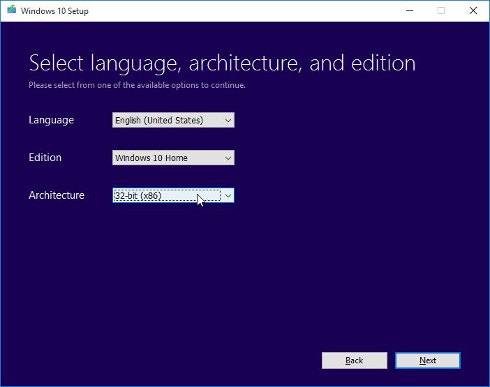 Bahasa, Arsitektur, dan Edisi Windows 10