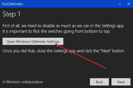 Open Windows Defender Settings
