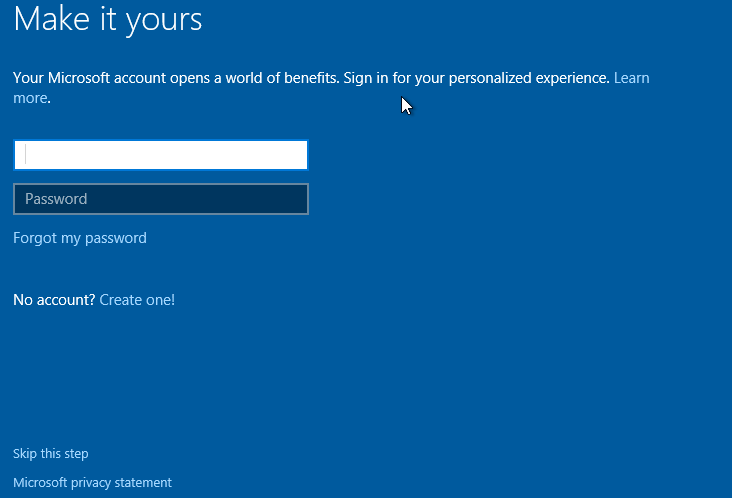 Password Windows 10