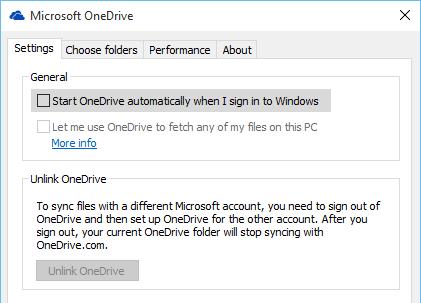 Pengaturan OneDrive