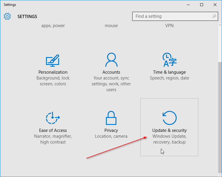 Update and security Windows 10