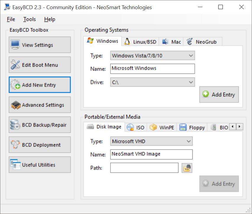 EasyBCD 2.3 Windows 10