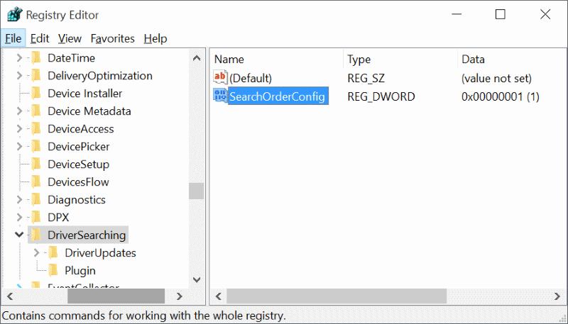 La clé de registre désactive la mise à jour du pilote Windows 10
