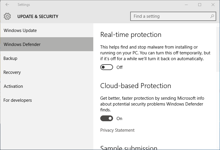 Mematikan Real-time protection