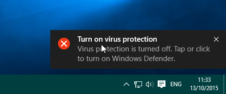 Pemberitahuan Turn on virus protection