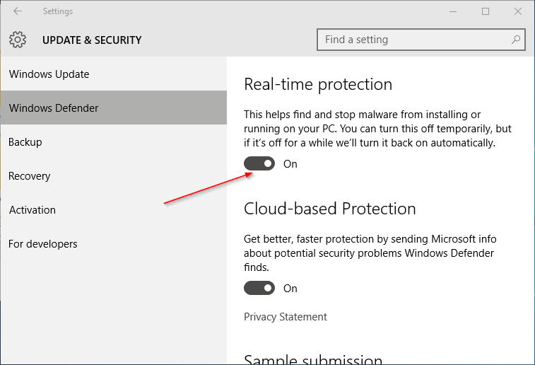 Pengaturan Windows Defender