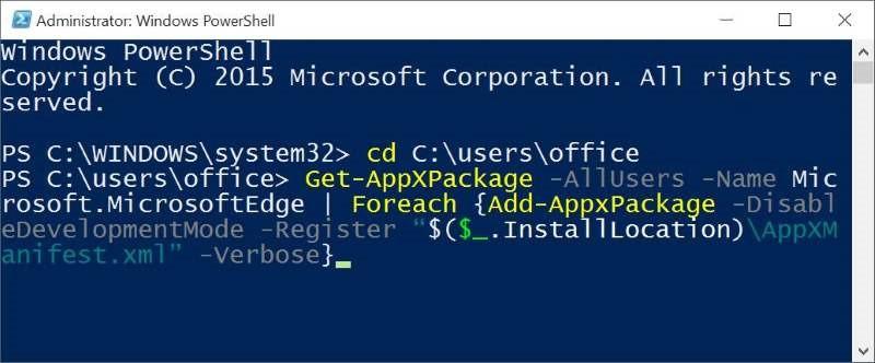 Perintah Install Microsoft Edge