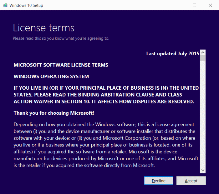 License terms Windows 10 Media Creation Tool