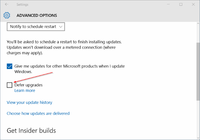 Mematikan Defer upgrades Windows 10