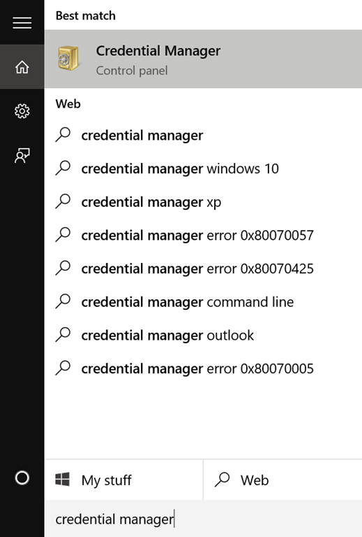 Membuka Credential Manager di Windows 10
