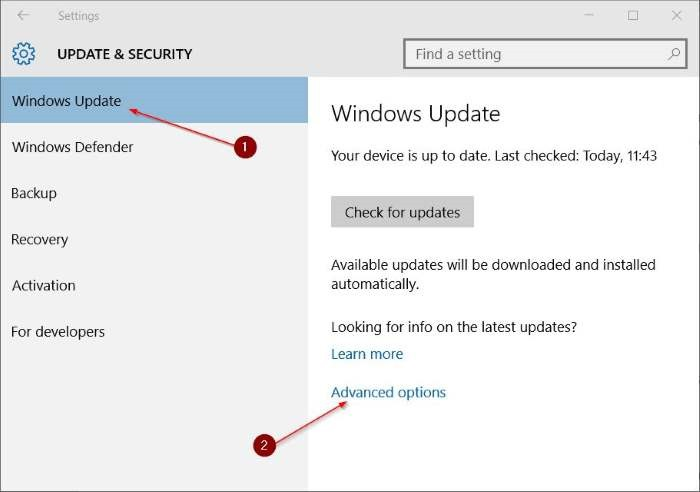 Pengaturan Windows Update Windows 10