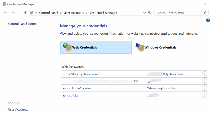 Web credentials Windows 10