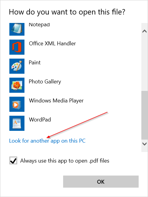 Dialog Open with another app - Look another app in this PC
