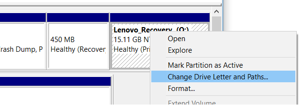 Disk Management - Change Partition Letter and Paths