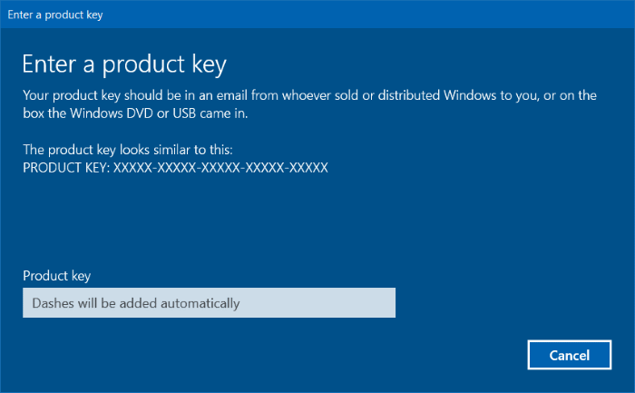Input Product Key Windows on Windows 10 Pro Activation Key