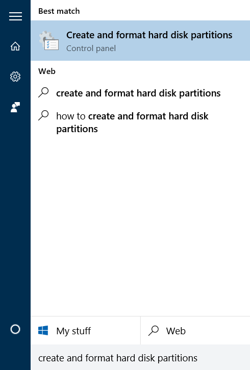Membuka Disk Management di Windows 10