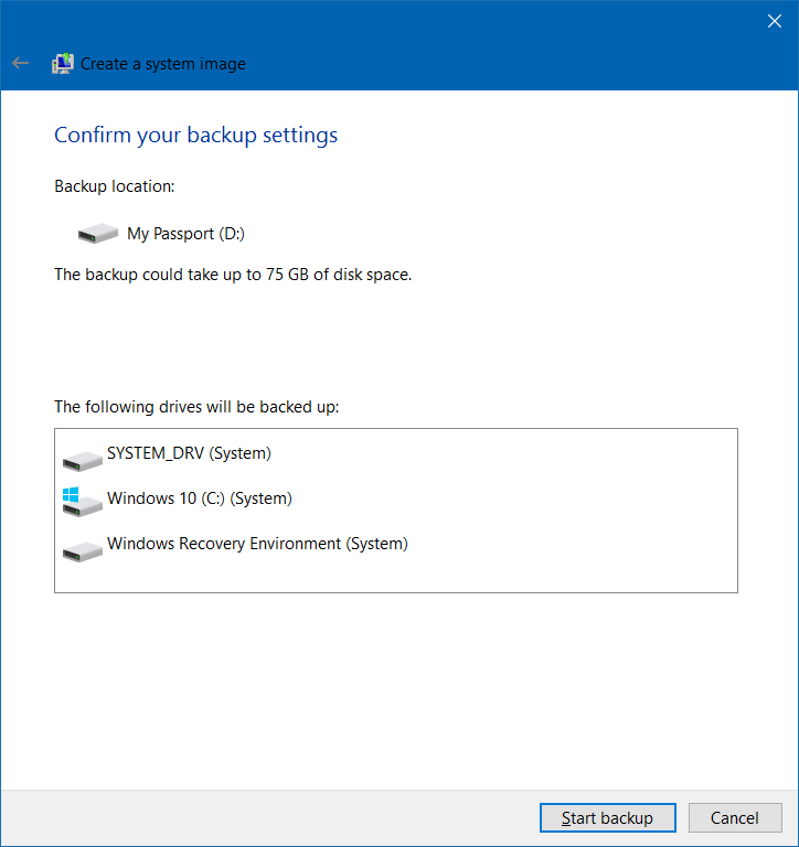 Memulai Backup Windows 10