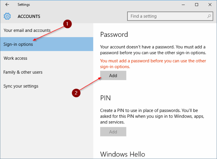 Menambahkan Password ke Windows 10