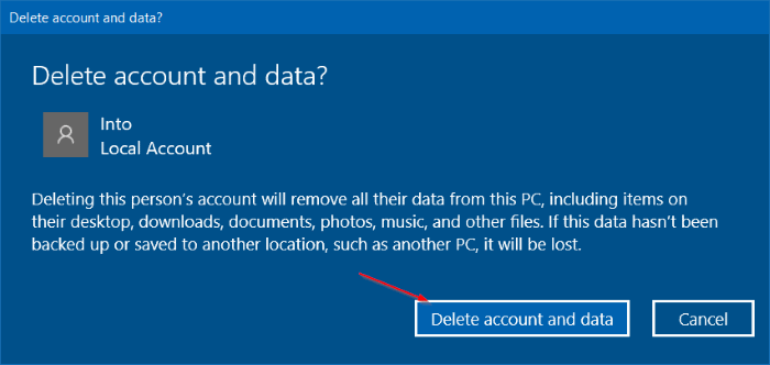 Menghapus user account di Windows 10