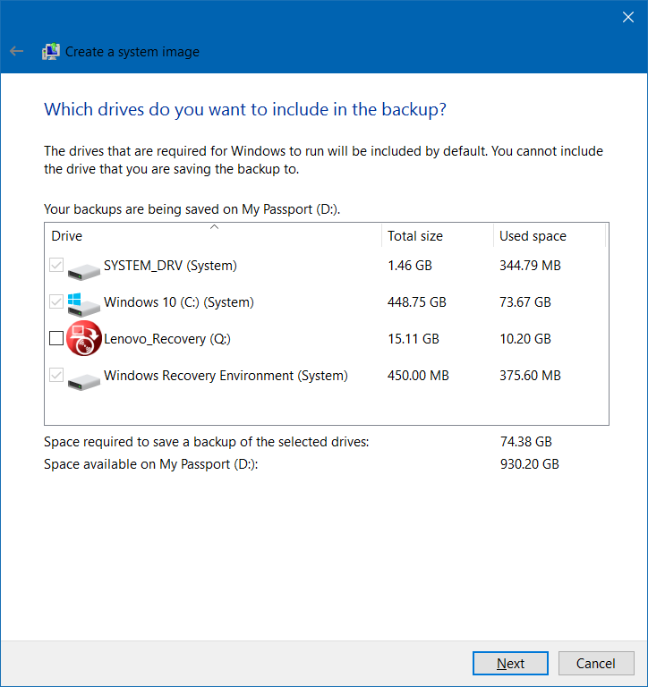 Partisi Backup Windows 10