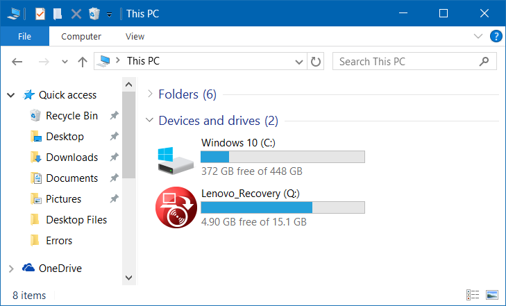 Partisi Recovery di Windows 10