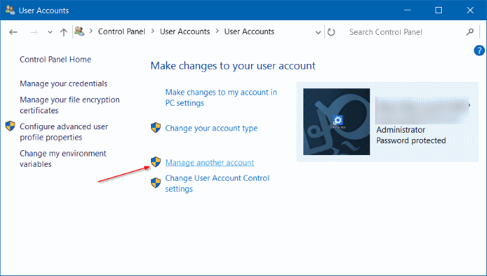Pengaturan User Accounts Windows 10