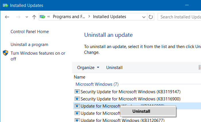 Uninstall Update Windows 10 Melalui Control Panel