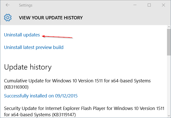 Uninstall updates Settings Windows Update