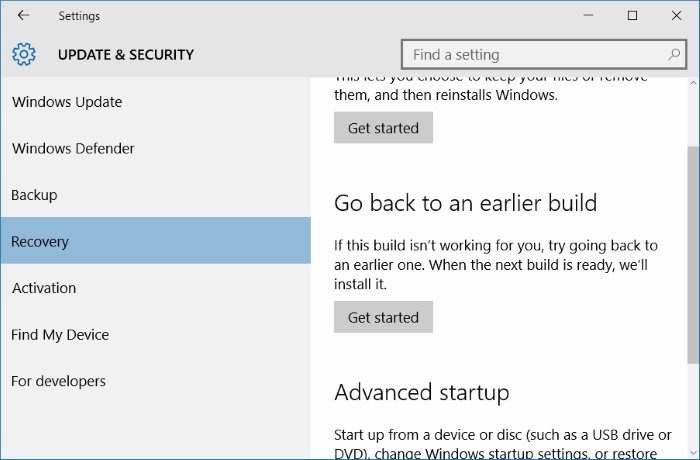 Update & security Recovery Windows 10