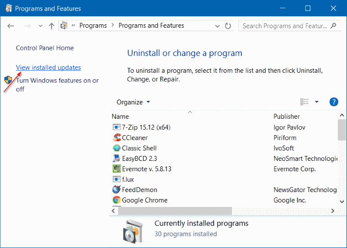 View installed updates Windows 10