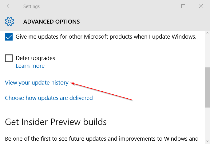 View your update history Windows Update Windows 10
